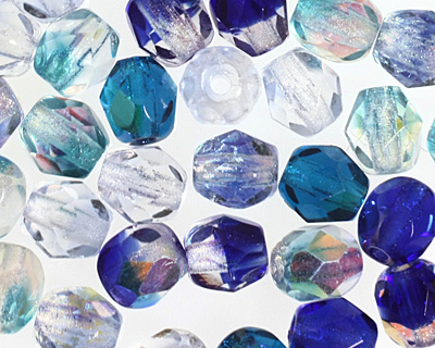 Czech Fire Polished Glass Blue Mix Round 4mm