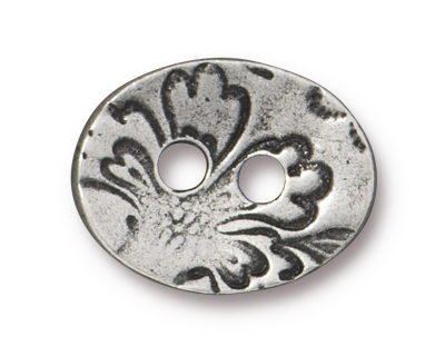 TierraCast Antique Silver (plated) Floral Button 17x13mm