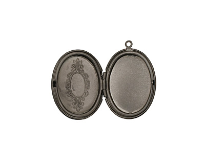 Gunmetal Oval Baroque Heirloom Locket 22x31mm
