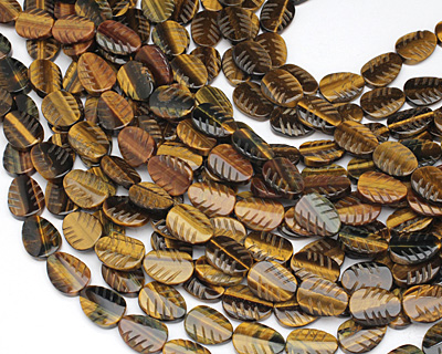 Tiger Eye Carved Leaf 18-20x13-15mm