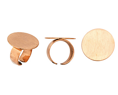 Copper Adjustable Circle Ring 24mm