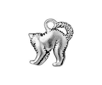 TierraCast Antique Silver (plated) Scary Cat Charm 17x18mm