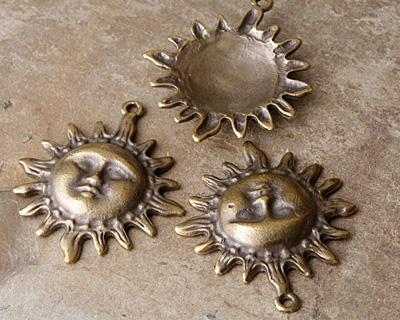 Greek Antique Brass (plated) Sun Face Pendant 40x46mm