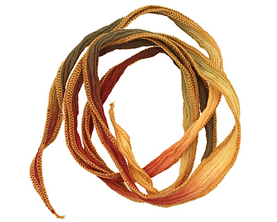 Autumn Leaves Hand Dyed 100% Silk Ribbon 1/2