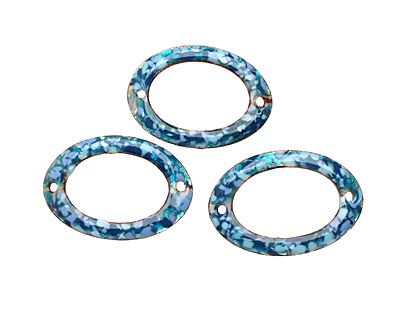 C-Koop Enameled Metal Blue Mix Large Oval Link 34-38x24-25mm