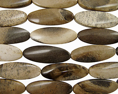 Mexican Painting Stone Wavy Flat Oval 55x21mm