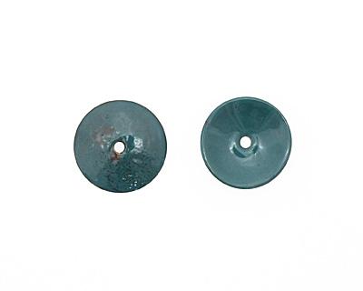 C-Koop Enameled Metal Peacock Blue Disc 3-4x18-20mm
