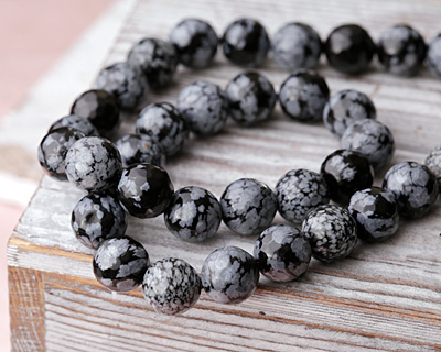 Snowflake Obsidian Faceted Round 10mm