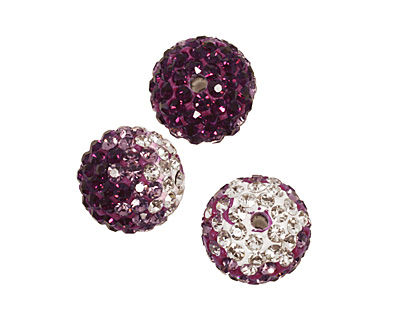 Amethyst/Crystal Ombre Pave Round 12mm