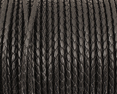 Black Woven Round Leather Cord 4mm