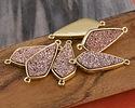 Metallic Bronze Crystal Druzy Teardrop Link in Gold Finish Bezel 33x14mm