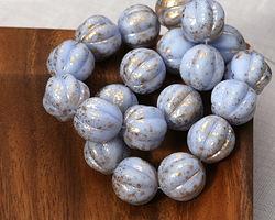 Czech Glass Alice Blue w/ Gold Melon Round 14mm