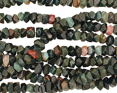 Bloodstone Side Drilled Faceted Nugget 6-7x9-10mm
