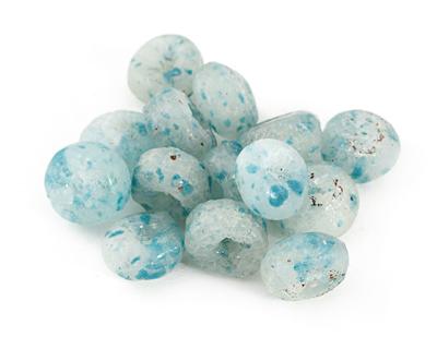 African Recycled Powder Glass Clear w/ Aqua Flecks Rondelle 7-9x12-13mm