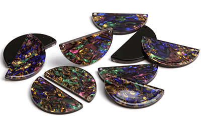 Zola Elements Abalone Acetate Half Circle Link 30x15mm