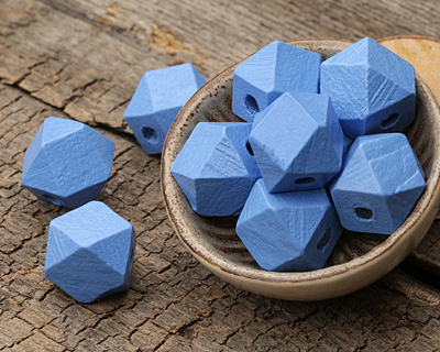 Alice Blue Wood Faceted Nugget 14mm