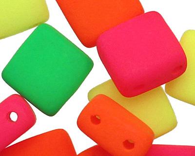 Czech Glass Bright Neon Mix 2-Hole Tile 6mm