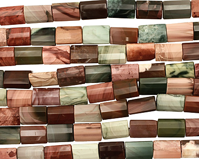 Imperial Jasper Long Faceted Thin Pillow 17-18x12mm