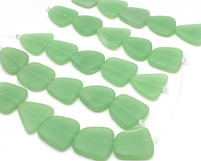 Opaque Spring Green Recycled Glass Flat Freeform 21-23x18-20mm