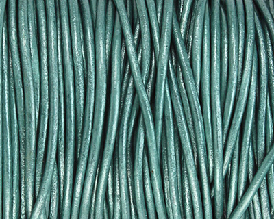 Truly Teal (metallic) Round Leather Cord 2mm