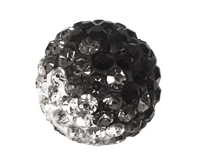 Jet/Crystal Ombre Pave Round 12mm