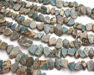 Blue Impression Jasper Flat Freeform Drop 8-17x10-28mm