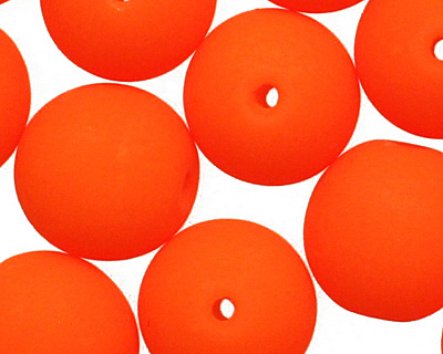 Czech Glass Bright Neon Orange Round 8mm