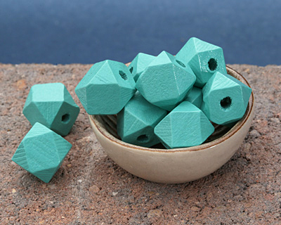 Turquoise Wood Faceted Nugget 20mm