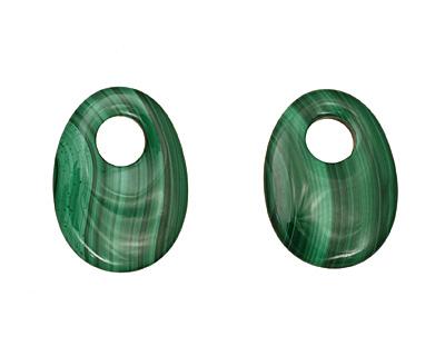 Malachite Flat Oval Pendant 22x30mm