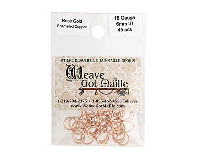 Rose Gold Enameled Copper Round Jump Ring 8mm, 18 gauge