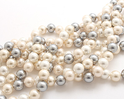 Vintage Lace Shell Pearl Mix Round 12mm