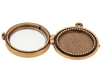 Nunn Design Antique Gold (plated) Small Beaded Locket 30mm