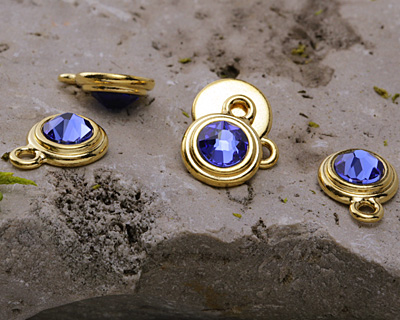 TierraCast Gold (plated) Stepped Bezel Drop w/ Sapphire Crystal 12x17mm