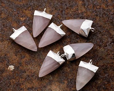 Lavender Quartz Faceted Triangle Pendant w/ Silver Finish 13x24mm