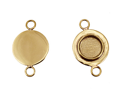 Brass Lipped Circle Bezel Link 18mm