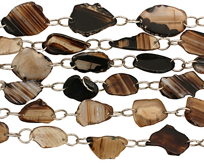Black Line Agate w/Rings Natural Edge Freeform Faceted Slab 25-53x22-36mm