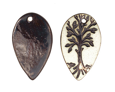 Earthenwood Studio Ceramic Oxidation Leafy Tree Pendant 28x46mm