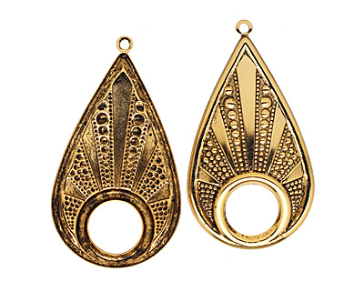 Stampt Antique Gold (plated) Beaded Drop w/ Hole 30x56mm