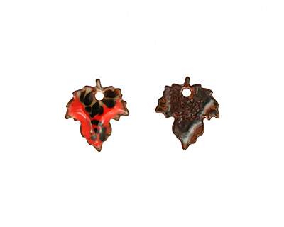 C-Koop Enameled Metal Rustic Red Maple Leaf 18x20mm