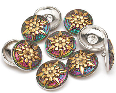 Czech Glass Pink & Green w/ Metallic Gold Starflower Button 32mm