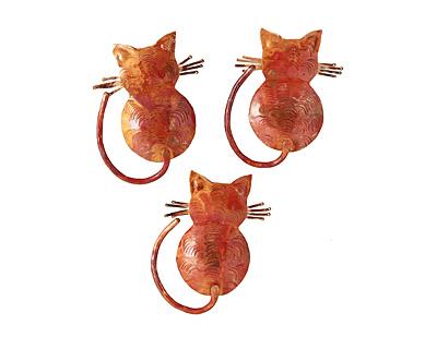 Patricia Healey Copper Cats Back Pendant 39x50mm