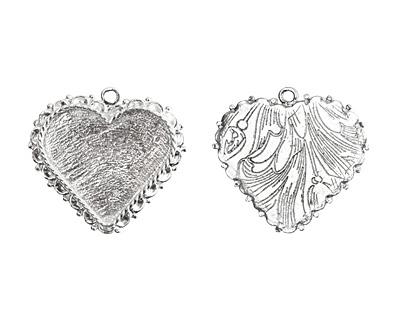 Nunn Design Sterling Silver (plated) Large Ornate Heart Bezel Pendant 40x37mm