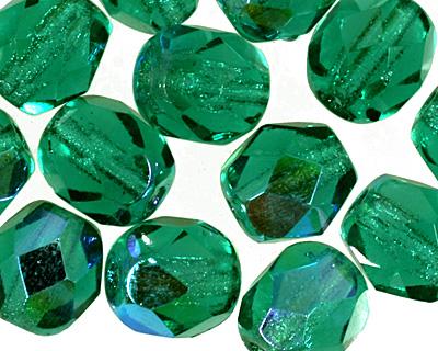 Czech Fire Polished Glass Emerald AB Round 6mm