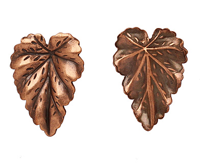 Stampt Antique Copper (plated) Leaf 16x22mm (no drill hole)