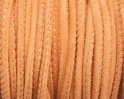 Orange Stitched Suede Round Leather Cord 2.5mm