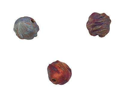XAZ Raku Rust Blue Small Orb 13-14mm