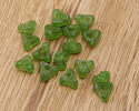 African Recycled Glass Emerald Green Tri-Bead 5x10mm