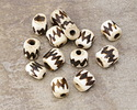 African Batiked Bone Zigzag Barrel Bead 7-10x9-11mm