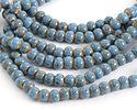 Alice Blue w/ Speckles Porcelain Tumbled Rondelle 5x7mm