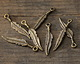 Greek Antique Brass (plated) Feather Charm 5x27mm